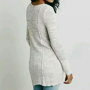 Free People Tops - Free People Sheer Button Ribbed Pink Beige Henley